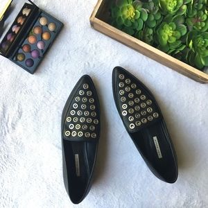 Zara Woman studded black leather point toe loafer